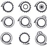 Las ruedas de engranaje vector insignias y el diseño gráfico elemen Imagen de archivo