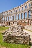Las ruinas de la arena en las pulas, Croatia Fotografía de archivo