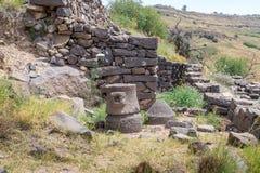 Las ruinas de la ciudad judía antigua de Gamla en Golan Heights Destruido por los ejércitos de Roman Empire en el 67.o ANUNCIO de Fotos de archivo libres de regalías