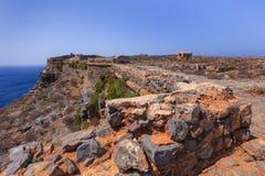 Las ruinas de la fortaleza veneciana antigua Crete, Grecia fotos de archivo