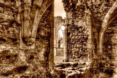 Las ruinas de la sepia cisterciense de HDR del monasterio de la abadía J de Netley entonan Fotos de archivo