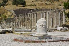 Las ruinas de Pérgamo, lugar de nacimiento de Hipócrates Imágenes de archivo libres de regalías