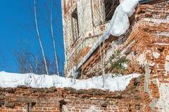 Las ruinas de una iglesia de piedra vieja, demasiado grandes para su edad con los árboles de abedul Foto de archivo libre de regalías