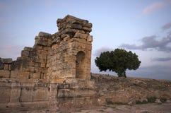 Las ruinas del cementerio de la necrópolis de Hierapolis, Pamukkale/Turquía imágenes de archivo libres de regalías