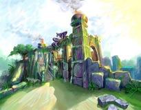 Las ruinas del templo ilustración del vector