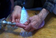 Las salchichas se dirigen la fabricación de la delicadeza Foto de archivo