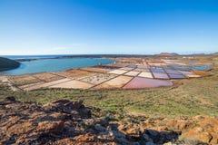Las Salinas de Janubio, in Lanzarote, Canary Islands, Spain Stock Photos
