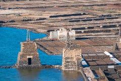 Las Salinas de Janubio, in Lanzarote, Canary Islands, Spain Royalty Free Stock Photography