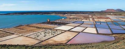Las Salinas de Janubio, in Lanzarote, Canary Islands, Spain Stock Image