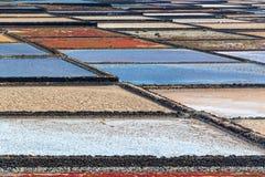 Las Salinas de Janubio, paludi d'acqua salata a Lanzarote, isole Canarie Spagna Immagine Stock Libera da Diritti