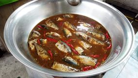 Las sardinas cocinan en un caldo en una parrilla en el mercado metrajes