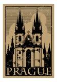 Las señales de papel del vintage viajan etiqueta con la arquitectura VI de Praga libre illustration