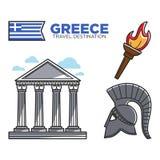 Las señales y la cultura turísticas famosas del destino del viaje de Grecia vector iconos Imagenes de archivo