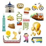 Las señales y los bocados preciosos de Taiwán trazan en estilo plano ilustración del vector