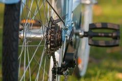 Las señoras azules del vintage montan en bicicleta la parte en el parque de la ciudad Foto de archivo libre de regalías