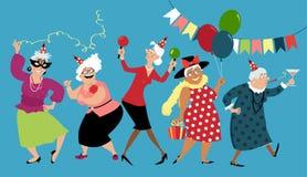 Las señoras mayores celebran stock de ilustración