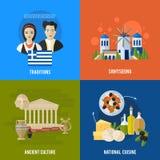 Las señales de Grecia y las banderas planas de las características culturales diseñan el sistema Fotografía de archivo