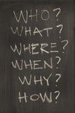 Las seis preguntas mas comunes sobre la pizarra Imagen de archivo
