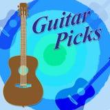 Las selecciones de la guitarra indican al guitarrista And Play de la roca Fotografía de archivo