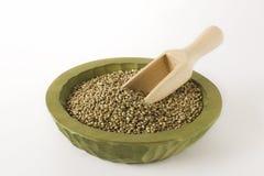 Las semillas crudas de la marijuana del cáñamo de la comida sana se cierran para arriba Imágenes de archivo libres de regalías