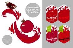 Las semillas de la granada con el jugo salpican Etiquetas org?nicas de las etiquetas de la fruta Etiquetas engomadas coloridas de libre illustration