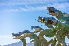 Las serpientes de la medusa en el hombre ardiente 2015 Imagen de archivo