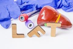 Las siglas o la abreviatura médicas de las pruebas de función hepática, de que del laboratorio clínico de LFT determinan la salud imagen de archivo libre de regalías