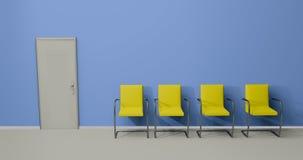 Las sillas azules y amarillas 3d de la sala de espera rinden Foto de archivo