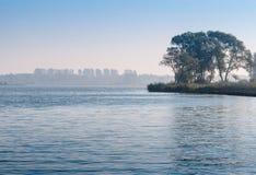 Árboles en un escupitajo de la tierra en un río Fotos de archivo