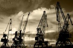 Las siluetas de la noche del cargo cranes en la foto negra y blanca del puerto marítimo Fotografía de archivo libre de regalías