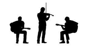 Las siluetas de los músicos fijaron 2 Imágenes de archivo libres de regalías