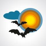 Las siluetas de palos en el símbolo de Halloween de la Luna Llena - vector el ejemplo Imagen de archivo