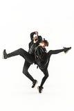Las siluetas del varón de dos hip-hop y de los bailarines de sexo femenino de la rotura que bailan en el fondo blanco Foto de archivo