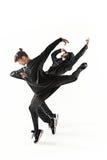Las siluetas del varón de dos hip-hop y de los bailarines de sexo femenino de la rotura que bailan en el fondo blanco Foto de archivo libre de regalías