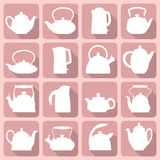 Las siluetas del vector estilizaron el sistema plano de la tetera del logotipo aislado en rosa Imagen de archivo libre de regalías