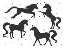 Las siluetas exhaustas del unicornio de la historieta del vector de la mano fijaron aislado en el fondo blanco Criaturas mágicas ilustración del vector