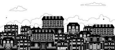 Las siluetas georgianas victorianas de las casas reman la calle stock de ilustración