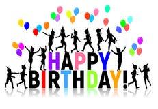 Las siluetas ponen letras a los globos coloreados los niños del feliz cumpleaños Fotografía de archivo