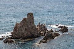 Las Sirenas nel parco naturale di Cabo de Gata-Nijar, contiene Almeria, Andalusia, Spagna Fotografia Stock Libera da Diritti