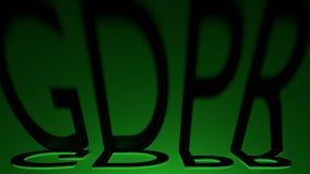 Las sombras de regla de la letra de la protección de datos general GDPR con el relámpago rojo, 3D rinden Imagen de archivo
