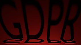 Las sombras de regla de la letra de la protección de datos general GDPR con el relámpago rojo, 3D rinden Foto de archivo libre de regalías