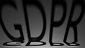 Las sombras de regla de la letra de la protección de datos general GDPR con el relámpago rojo, 3D rinden Imágenes de archivo libres de regalías