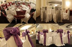 Las tablas en un salón de baile de la boda, multicam, pantalla partieron en cuatro porciones, rejilla 2x2 Fotos de archivo libres de regalías