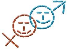 Las tabletas se alinean en símbolos femeninos y masculinos con un smiley alegre Potencia y erección crecientes Salud humana Medic foto de archivo libre de regalías