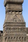 Las tallas de la roca texturizan el fondo de Ellora Caves en Aurangabad, la India Un sitio del patrimonio mundial de la UNESCO en Fotografía de archivo libre de regalías
