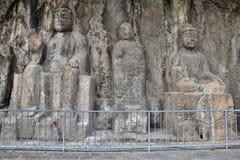 Las tallas de piedra en las grutas de Longmen en la provincia de Henan en China imagen de archivo libre de regalías