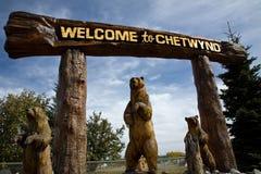 Las tallas o los osos de madera fantásticos acogen con satisfacción a visitantes a Chetwynd, A.C. imágenes de archivo libres de regalías