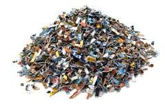Las tarjetas de batería destruidas foto de archivo