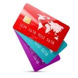 Las tarjetas de crédito coloridas del vector fijaron el ejemplo Foto de archivo