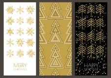 Las tarjetas de felicitación de la Navidad o del Año Nuevo fijaron con sno de oro del esquema libre illustration